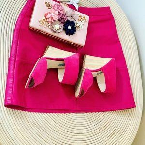 Prada Shoes - Prada pink wedge platform sandals